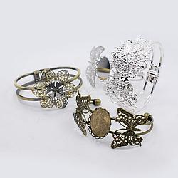 Латунь манжеты браслеты, Браслет заготовок, для браслет материалы, с железной фурнитурой, разнообразные, разноцветные, 57.5~68x42~48 мм; подходит для 1.5 мм диаметром горный хрусталь(BJEW-MSMC002-16)