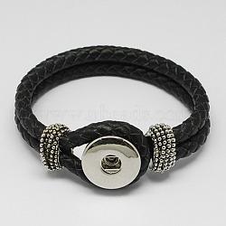 Черный кожаный браслет оснастки для изготовления оснастки кнопки шарм, с латунными снимками и фурнитурой сплавочной, платина, 230x19 мм(X-AJEW-R022-04)