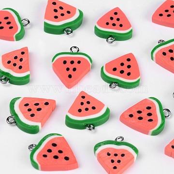 Polymer Clay Pendants, Watermelon, Red, 17~22x15~17x3~5mm, Hole: 2mm(X-CLAY-Q186-03)