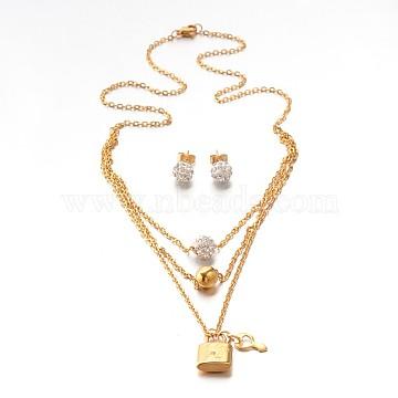 Stainless Steel + Rhinestone Stud Earrings & Necklaces