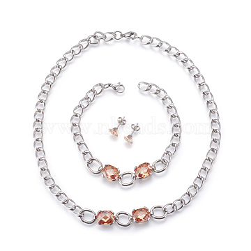 304 Stainless Steel Stud Earrings & Pendant Necklaces & Link Bracelets Jewelry Sets, with Cubic Zirconia, PeachPuff, 15.94 inches(40.5cm); 8-1/8 inches(20.5cm); 8x8mm, Pin: 0.8mm(SJEW-L135-01B)