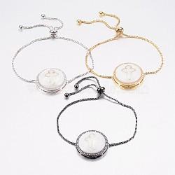 """Bracelets réglables de bolo de coquille de zircone cubique en laiton de pave réglable, Bracelets coulissants, avec des chaînes de boîte en laiton, plat et circulaire avec croix, blanc, couleur mixte, 10-1/4"""" (260 mm); 1.2mm(BJEW-H557-01)"""