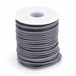 Tuyau creux corde en caoutchouc synthétique tubulaire pvc, enroulé aurond de plastique blanc bobine, grises , 4mm, trou: 2 mm; environ 15 m / rouleau(RCOR-R007-4mm-10)