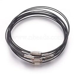 Bracelet en fil d'acier faisant, avec fermoir en alliage, noir, taille: environ 1 mm d'épaisseur, 62 mm de diamètre intérieur (X-TWIR-A001-1)