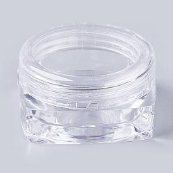 3g pot de crème pour le visage cosmétique en plastique, bouteille réutilisable portable vide, clair, 3.1x3.1x1.6cm; capacité: 3g(MRMJ-WH0020-02)
