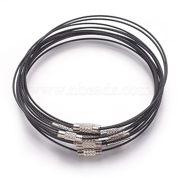 Steel Wire Bracelet Making, with Alloy Clasp, Black, Size: about 1mm thick, 62mm inner diameter(X-TWIR-A001-1)