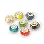 Glass European Beads, Large Hole Beads, Mixed Color, with Flower Inside, Brass Core in Silver Color, about 13mm wide, 8mm long, hole: 5mm