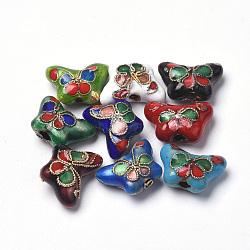 Perles en cloisonné Manuelles, fleur, couleur mixte, 15x10~11x6~7mm, Trou: 1.5mm(CLB-S006-13)