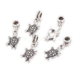 Perles européennes de pendentif en alliage , tortue, argent antique, 35mm, Trou: 5mm(X-PALLOY-JF00001-10)