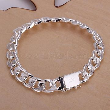 Unisex Brass Curb Chain Bracelets, with Clasps, Silver Color Plated, 210x10mm(BJEW-BB12460)
