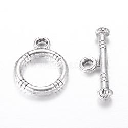 Fermoirs toggle en argent tibétain , argent antique, sans plomb et sans cadmium et sans nickel, anneau: 15x12mm; barre: 18.5x3.5mm, Trou: 2mm(X-LF0161Y-NF)