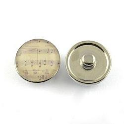 Boutons de bijoux en laiton, avec cabochons de verre, plat rond, de couleur métal platine , floral blanc, 18x9~10 mm; bouton: 5.5~6 mm(X-GLAA-Q030-11)
