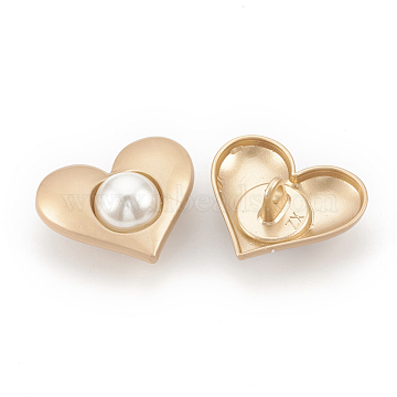CCB Plastic Shank Buttons, with ABS Plastic Imitation Pearl, 1-Hole, Heart, Creamy White, Golden, 21.5x25x12mm, Hole: 2.5mm(BUTT-S021-12)