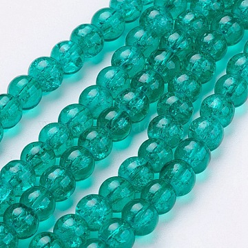 Crackle Glass Beads Strands, Round, MediumSea Green, 10mm, Hole: 1.3~1.6mm; about 80pcs/strand, 31.4 inches(X-CCG-Q001-10mm-15)
