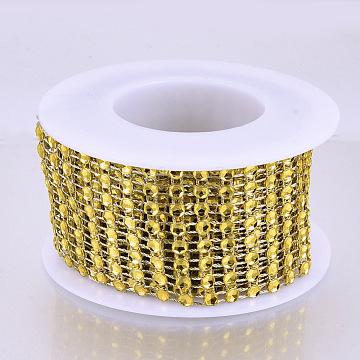 8 Rows Plastic Diamond Mesh Wrap Roll, Rhinestone Ribbon, with Spool, for Wedding, Birthday, Baby Shower, Arts & Crafts, Gold, 40x1mm, about 6.56 Feet(2m)/roll(OCOR-N005-001A)