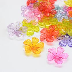 Transparentes bouchons acrylique de perles, fleur, couleur mixte, 25.5x26x7.5mm, Trou: 2mm(X-TACR-Q151-M)