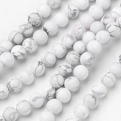 """Chapelets de perles en howlite naturelle, mat, rond, 6mm, trou: 1mm; environ 63 pcs/chapelet, 15.1""""(G-D809-16-6mm)"""
