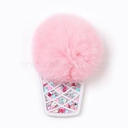 Пластиковые большие подвески, с нейлоновым помпоном и блестками, мороженое, розовые, 85x65x15 мм, отверстие : 2 мм(KY-F012-A02)