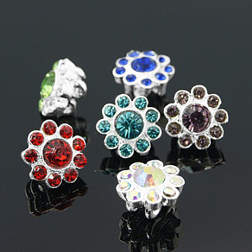 Alloy Multi-Strand Rhinestone Links, Cadmium Free & Lead Free, Grade A, Flower, Silver Color Plated, Mixed Color, 12x8mm, Hole: 2mm(ALRI-H213-S)