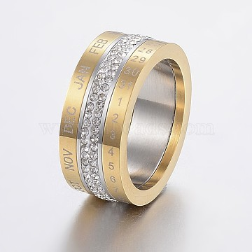 Rotatable 304 Stainless Steel Rings, with Polymer Clay Rhinestone, Wide Band Rings, Number & Month, Golden & Stainless Steel Color, Size 6~10, 16~20mm(RJEW-P063-38G)