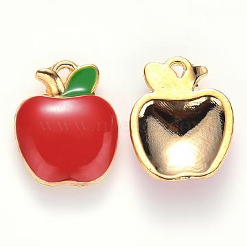 Alloy Enamel Charms, Apple, Light Gold, Red, 15x12x3mm, Hole: 0.9mm(X-ENAM-S121-056)