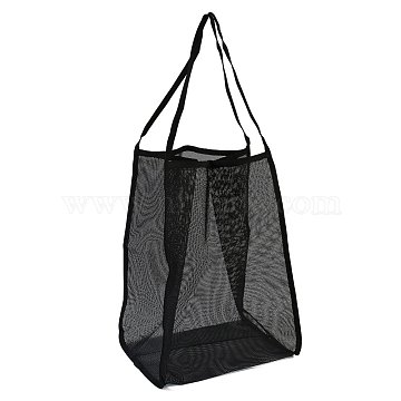 Polyester Mesh Beach Bag, with Handle Mesh Beach Tote Bag Reusable Mesh Shopping Bag, for Travel Toys or Laundry, Black, 62.4~63cm(ABAG-H101-A04)