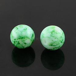 """Chapelets de perles en verre peint par pulvérisation, rond, teint, seagreen, 6mm, trou: 1.3~1.6mm; environ 133 pcs/chapelet, 31.4""""(X-GLAA-R139-6mm-14)"""