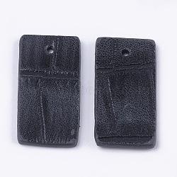 Pendentifs en cuir pu, rectangle, grises , 26.5x12.5x1.5mm, Trou: 1.4mm(X-FIND-S299-03A)