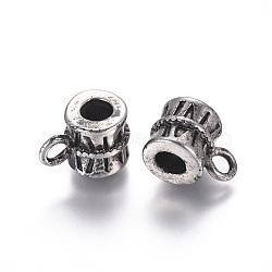 Liens de suspension en 304 acier inoxydable, Perles renflouer , Perles avec un grand trou   , colonne, argent antique, 15x10x10.5mm, trou: 3 mm; diamètre intérieur: 5 mm(STAS-I120-82AS)