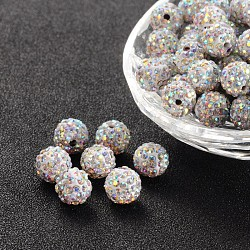 Pave Disco Ball Beads, Polymer Clay Rhinestone Beads, Round, Crystal AB, PP13(1.9~2mm), 6 Rows Rhinestone; 10mm, Hole: 2mm(RB-S605-14)