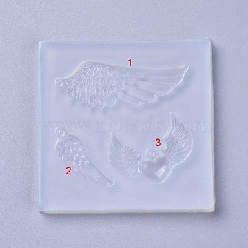 Pendant Silicone Molds, Resin Casting Molds, For UV Resin, Epoxy Resin Jewelry Making, Wing, White, 68x69x7mm, Hole: 2mm(X-DIY-L026-075)