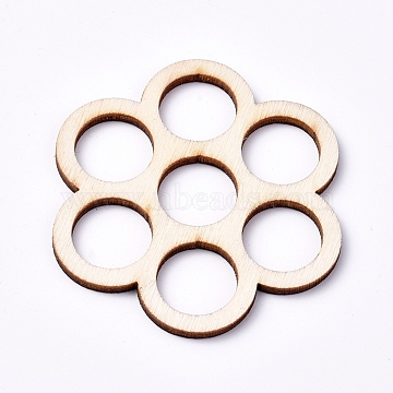 Wood Cabochons, Laser Cut Wood Shapes, Flower, Blanched Almond, 51.5x51.5x2.2mm(X-WOOD-TAC0003-35)