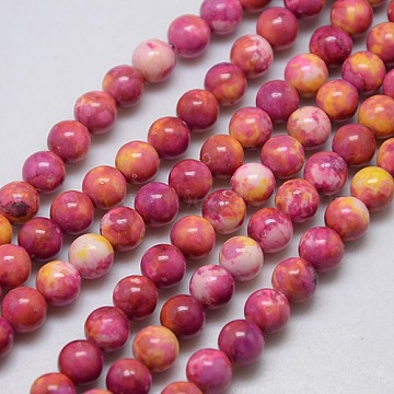 Synthetic Fossil Beads Strands, Dyed & Heated, Round, Cerise, 6mm, Hole: 1mm; about 62pcs/strand, 15.7inches(G-L028-6mm-07)