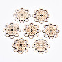 5-Hole Undyed Natural Wooden Buttons, Laser Cut, Flower, Antique White, 41x41x2.5mm, Hole: 1.6mm