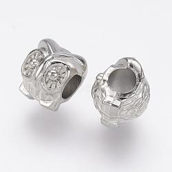 Perles européennes en plastique CCB, Perles avec un grand trou   , chouette, platine, 11x10x10mm, Trou: 4.5mm(CCB-J035-024P)
