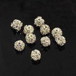 laiton perles strass, avec un noyau de fer, Grade A, métal couleur argent, arrondir, cristal, 6 mm de diamètre, trou: 1 mm(X-RB-A019-6mm-01S)