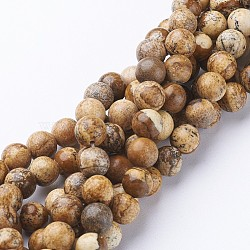 Gemstone Beads Strands, Natural Picture Jasper, Round, about 8mm in diameter, hole: about 1mm, 15~16inches