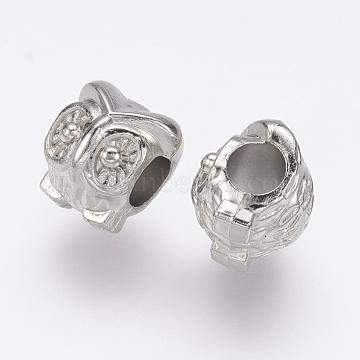 CCB Plastic European Beads, Large Hole Beads, Owl, Platinum, 11x10x10mm, Hole: 4.5mm(CCB-J035-024P)