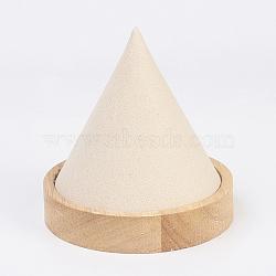 Collier bois affiche, avec faux suède, cône, peachpuff, 8.7x9.3 cm(NDIS-E020-05A)