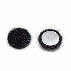 Cabochons recouverts de fausse fourrure, avec fond en aluminium, demi-rond / dôme, noir, 15x5mm(WOVE-S084-49A)