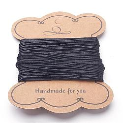 Jewelry DIY Findings Waxed Cotton Cord, Black, 1mm thick