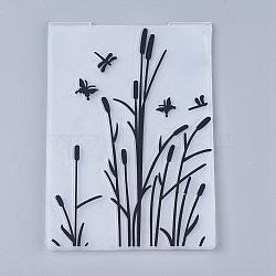 Tampon en plastique transparent transparent, pour scrapbooking bricolage / album photo décoratif, feuilles de timbres, libellule, noir, 14.6x10.5x0.3 cm(DIY-WH0110-04A)
