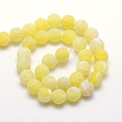 Natural Crackle Agate Beads Strands, Dyed, Round, Grade A, Gold, 6mm, Hole: 1mm; about 63pcs/strand, 15.5