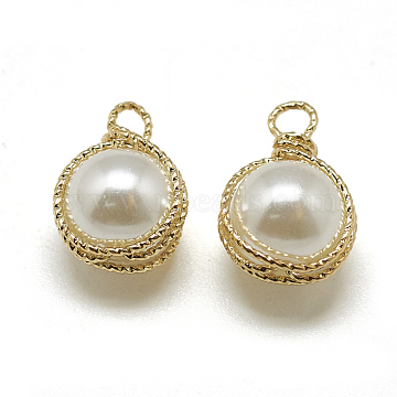 ABS Plastic Imitation Pearl Charms, with Brass Findings, Round, Real 18K Gold Plated, 14x9x8mm, Hole: 1.5mm(X-KK-T032-091G)