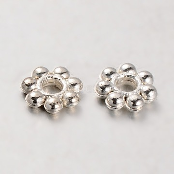 CCB Plastic Bead Spacers, Flower, Silver Color Plated, 6x2mm, Hole: 2mm(CCB-J029-83S)