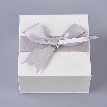 Cardboard Jewelry Boxes, Square, with Sponge, Velours and Ribbon Bowknot, White, 7.6x7.6x4.3cm(X-CBOX-O002-01)
