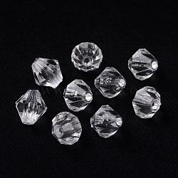 Toupie en forme de perles acryliques claires transparentes, facette, 3 mm de diamètre, Trou: 1mm(X-DBB3mm01)