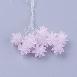 perles de verre tissées, fleur / sparkler, fait de charmes en oeil de cheval, rose, 13 mm(EGLA-L014-21D)