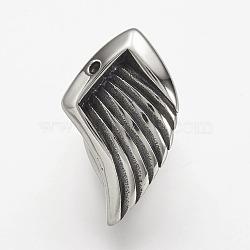 304 из нержавеющей стали кожаный шнур застежка горный хрусталь настройки, крыло, античное серебро, 29x17x18 мм, отверстие : 5x10 мм ; пригодный для стразов 2 мм(STAS-P169-66AS)