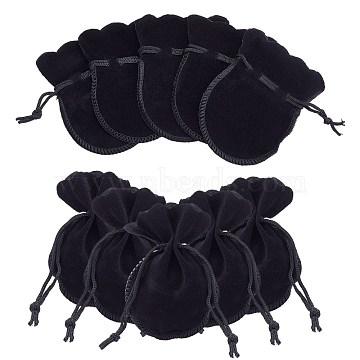Gourd Velvet Bags, Black, 9.5x7.5cm(TP-R005-01)